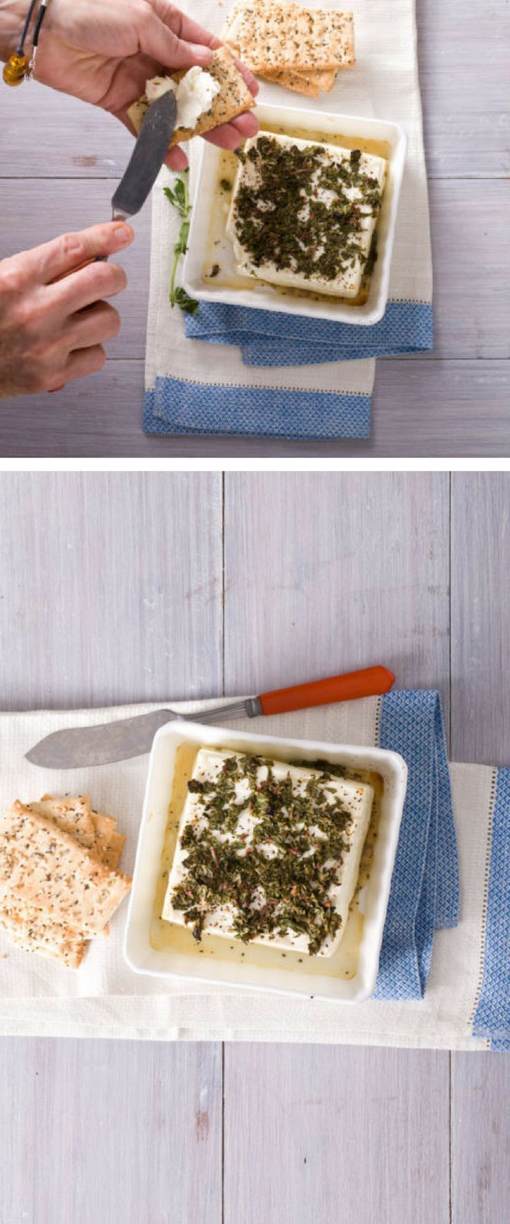 A simple, spreadable baked feta cheese appetizer! Delicious on crackers, toast, or crusty baguette. // Baked Feta Cheese Appetizer Recipe