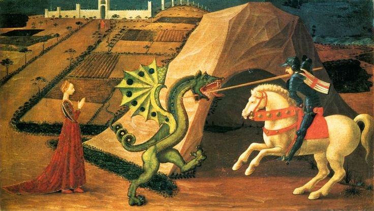 Paolo Uccello (Italian 1397–1475) [Early Renaissance] St.George and the Dragon. Oil on canvas, 52 x 90 cm. Muse Jacquemart Andr.