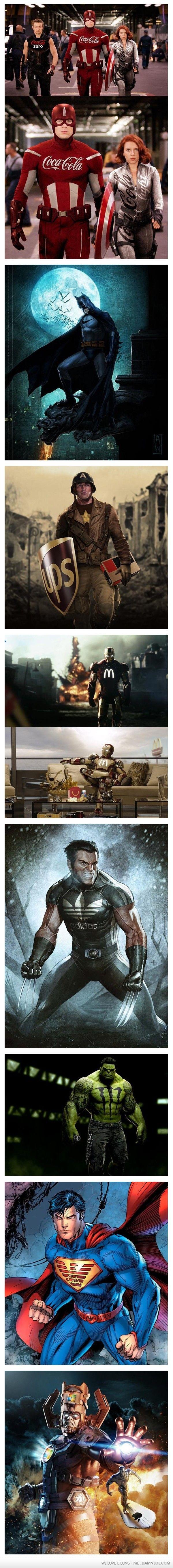 If Superheroes Had Sponsor - The Avengers, Batman, Superman, and Wolverine.
