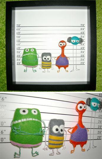 How much fun is this framed felt monster line up - The Unusual Subjects 2
