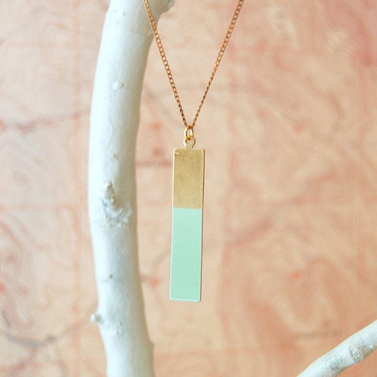 Geometric Necklace, Brass Long Rectangle Colorblock, The Durango. $38.00, via Etsy.
