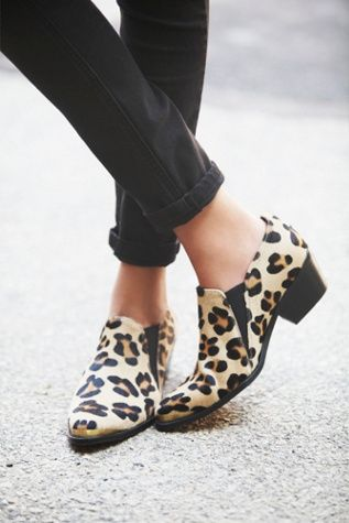 TBA Leander Ankle Boot, Spanish crafted leopard print pony hair ankle boots with metal toe and heel caps and gusset detailing. Block heels.