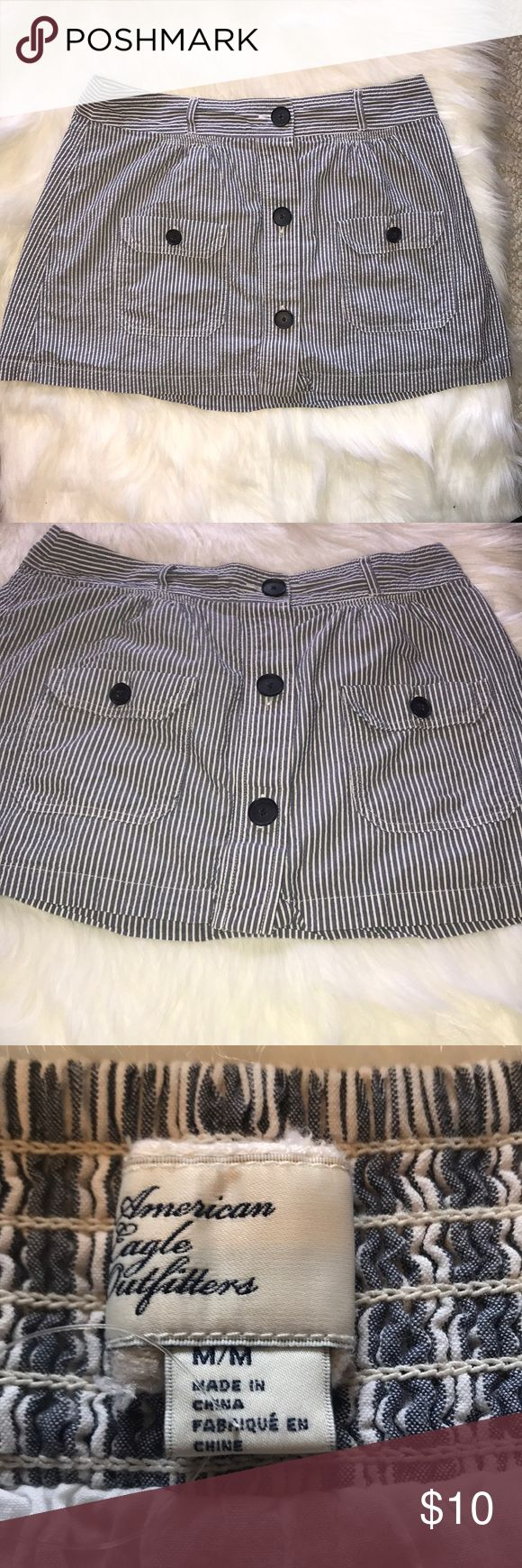 Mini Skirt American Eagle Outfitters cotton stripped mini skirt with elastic waist that has belt loops. American Eagle Outfitters Skirts Mini