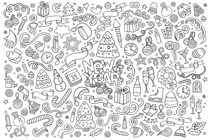 Free coloring page coloring-doodle-happy-new-year-by-balabolka. Doodle drawing 'Happy New Year', by Notkoo2008 (Source : 123rf.com)