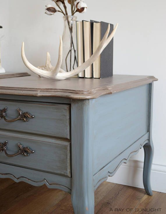 This Pair Of Vintage Bassett Furniture French End Tables Or Nightstands  Feature An Antiqued Pale Blue Bottom With A Layered Weathered Finish Up  Top, ...