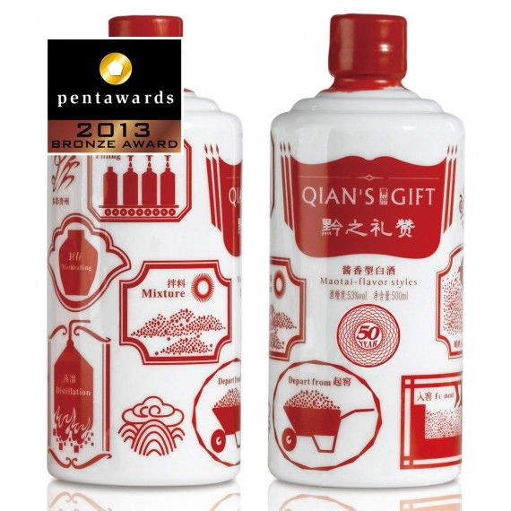 Bronze Pentaward 2013 Beverages – Spirits Brand: Qian's Gift – Maotai-flavor styles  Entrant: Pesign Design PD