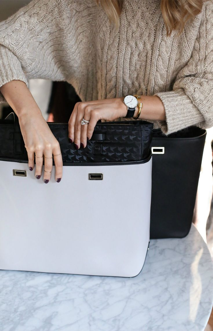 """The light grey is a great neutral alternative to my black shell, but there are tons of great colors and, you guys, the convenience of not having to pull out all of your stuff when transitioning from one bag to another is a godsend."" - Mary Orton of Memorandum sharing why she loves the Shell+ Design feature of the Seville laptop tote. The Seville is available for 13"" and 15"" laptops. Designed by Lo & Sons."