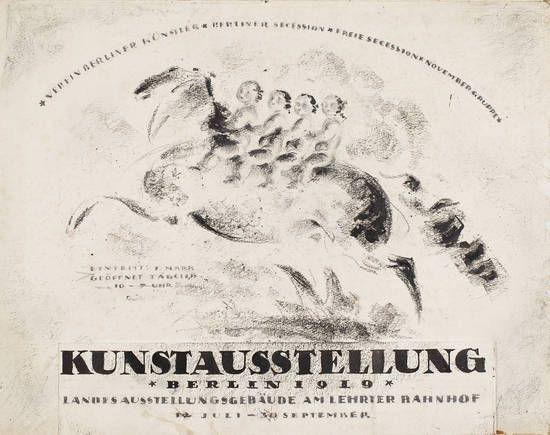"""Plakatentwurf zur Kunstausstellung Berlin 1919"",  Grafik, Scheurich, Paul,  1919"