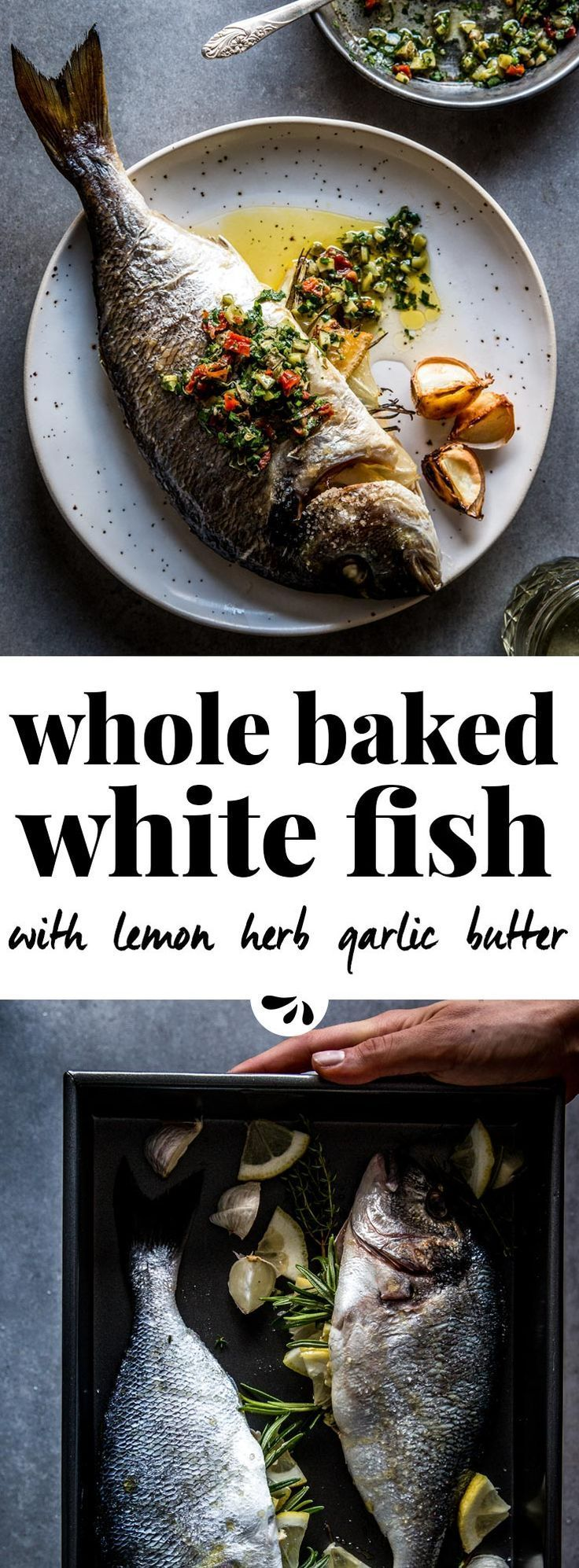 An easy and healthy baked fish recipe, this whole fish is a flavorful and simple weeknight dinner recipe. Make it with your favorite whole white fish, such as sea bream, sea bass or branzino. Stuffed with herbs, lemon and garlic butter and served with a b