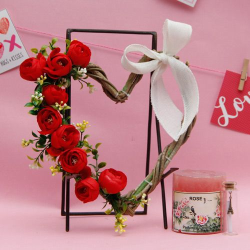 Heart Shaped Arrangement With Scented Candle