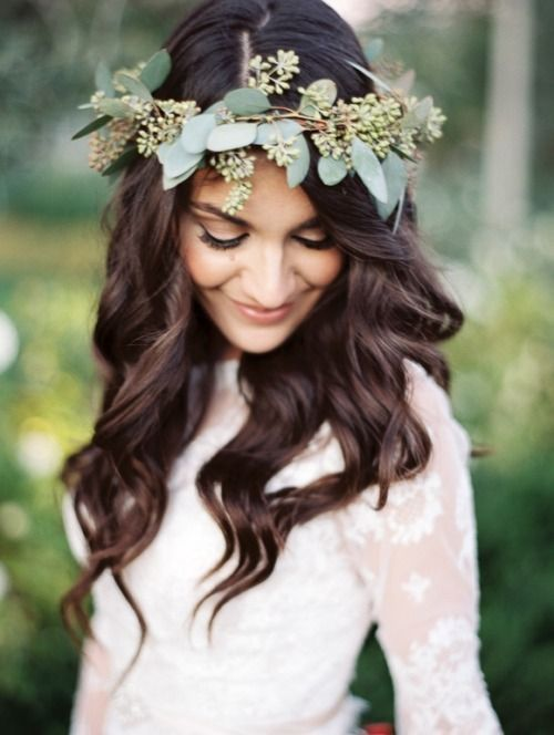 2016 Wedding Hair Ideas. Updo. Curls.Pretty greenery floral crown | boho bohemian bride style: