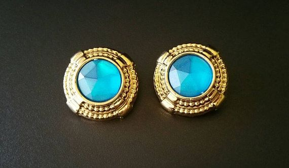Vintage Big Blue Earrings Large Round Lightweight Button