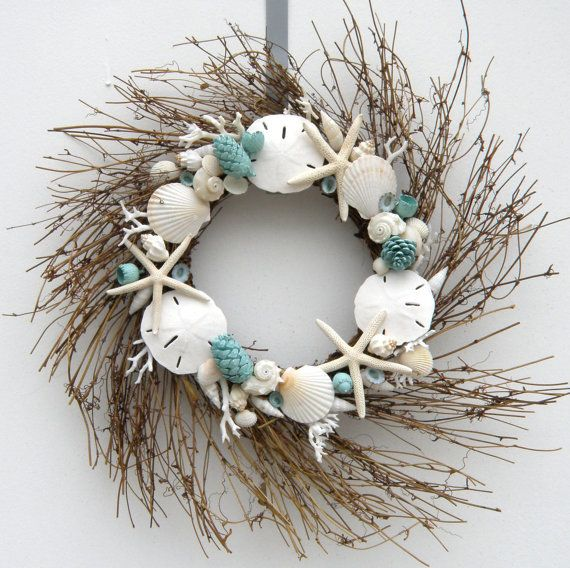 Items similar to Seaside coastal wreath with Teal Accents - starfish wreath, sanddollar wreath on Etsy