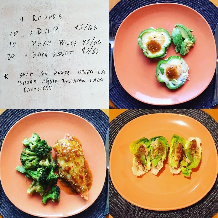 WOD @cf_220  Desayuno: Huevos gratinados con pimiento verde y aguacate. Comida: Pechuga de pollo en salsa de chile de árbol y brócoli con ghee y especias. Cena: Rollos de lechuga con ensalada de atún y aguacate. #cambiateapaleo #paleolifestyle