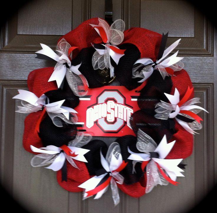 Ohio State Wreath, OSU Wreath, Buckeye Wreath, Red and black Burlap Wreath, Football Wreath by CraftElegance on Etsy