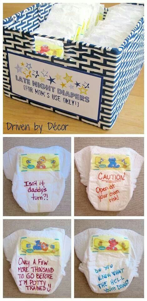Great baby shower idea! Everyone writes a message for mom to see at random diaper change!!!