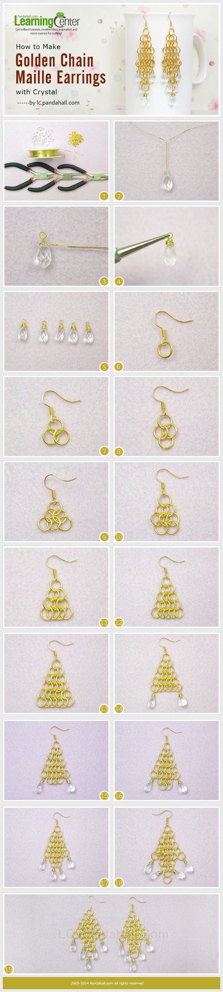 How to Make Golden Chain Maille Earrings with Crystal