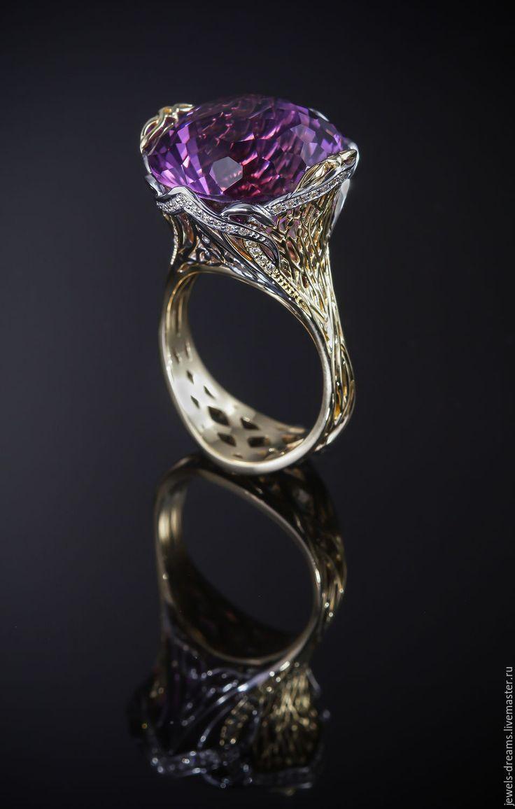 """Купить Золотое кольцо с бриллиантами """"Колыбель для аметиста"""" - золотой, золотое кольцо, кольцо из золота"""