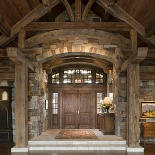 Rustic Entry Double Doors Design Ideas, Pictures, Remodel and Decor