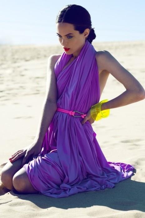 color coutureBeach Dresses, Colors Combos, Fashion, Shades Of Purple, Purple Dresses, Neon Purple, Neon Colors, Wraps Dresses, Neon Yellow