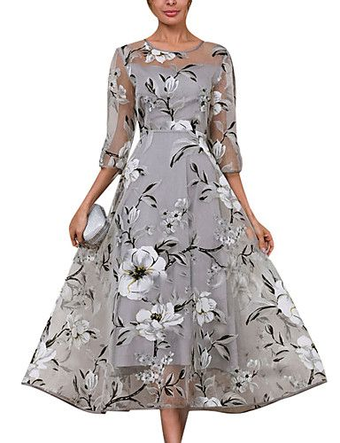 7fdce0313770 Women's Daily Elegant A Line Skater Dress - Floral Gray XXXL XXXXL XXXXXL  in 2019 | fashion | Dresses, Midi dress with sleeves, Floryday dresses