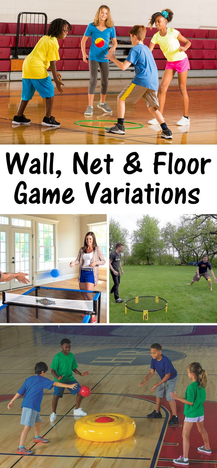 Wall, Net and Floor Game Variations to Spike and Slam Ball