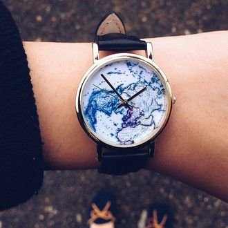 watch weekend escape travel blue map print blue and white home accessory black leather beautiful perfect sweet cute blue watch worldmap watch jewels globes earth urban outfitters