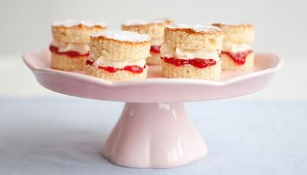 Mini Victoria Sandwiches - these look sweet, fun and easy to make, and the simple dusting of icing sugar on top makes them very presentable. Any sponge cake recipe could be adapted for this, so chocolatey versions could be made.