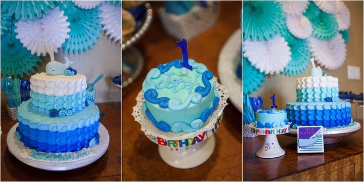 Whale Theme First Birthday Cake and Smash Cake