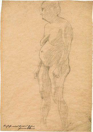 """Gustav Klimt (Wien 1862 - 1918 Wien) Stehender dicker weiblicher Akt nach links (Studie im Zusammenhang mit dem Fakultätsbild """"Medizin""""), 1901-1907 schwarze Kreide auf Papier; 45,4 × 31,6 cm"""