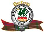 "Seton Clan Tartan the Crest ""On a ducal coronet, a dragon Vert, spouting fire Proper, with wings elevated and charged with a star Argent"". Clan Motto is ""HAZARD YET FORWARD"", translated as ""Whatever the risk, go ahead"". MacRory Mor"