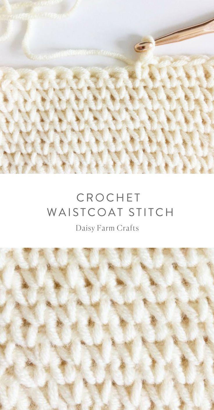 How to crochet the waistcoat stitch - #crochet