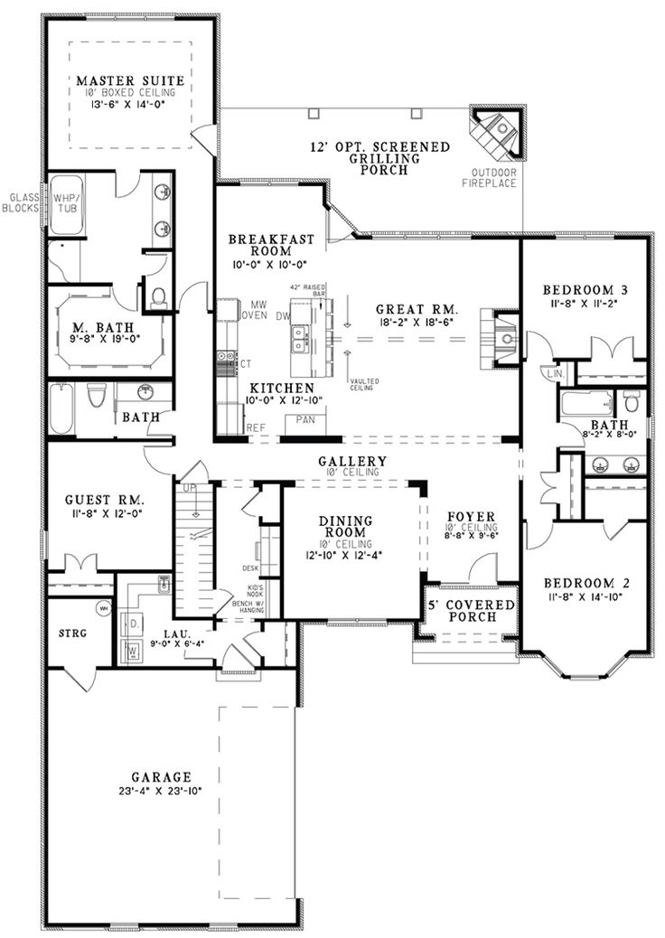 Open One Story House Plans The House Designers Design House Plans For New Home