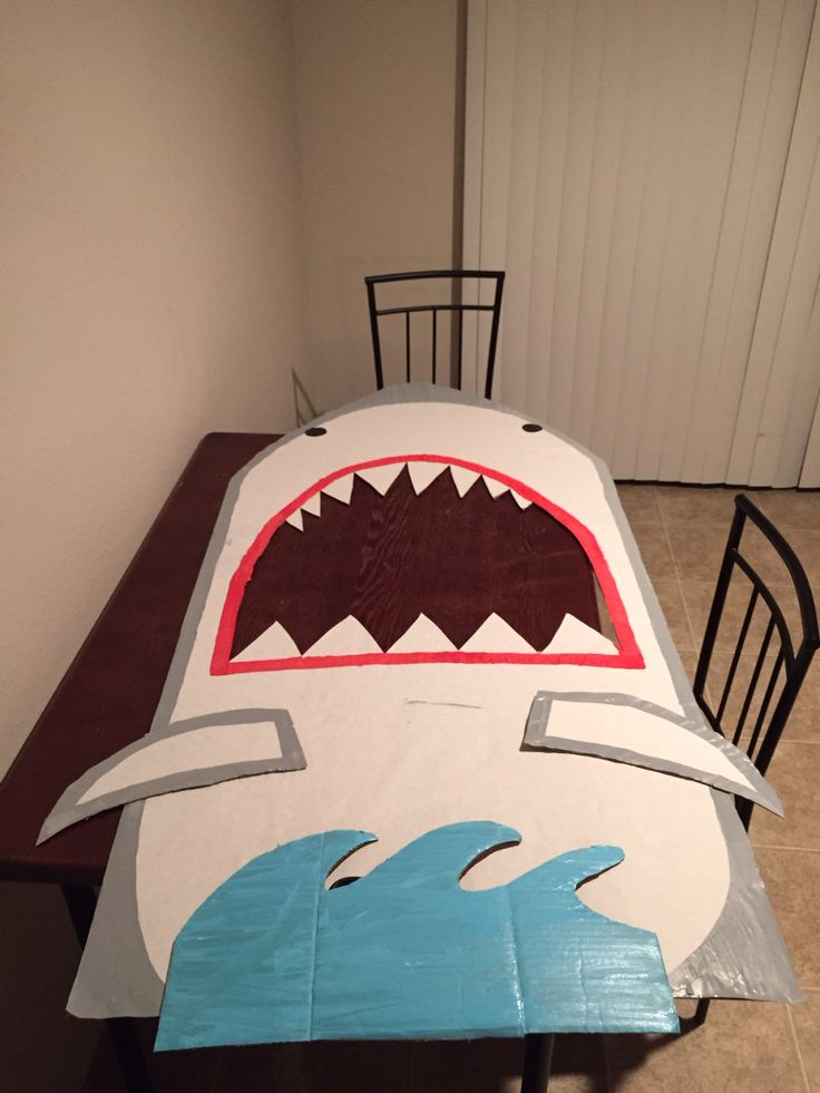 DIY shark for pictures #luau #party #sharkcardboard #DIY