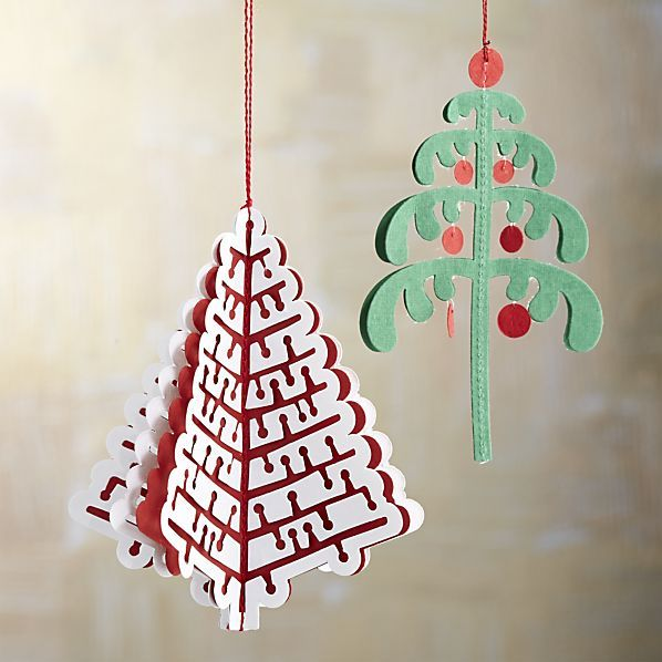 Cut Paper Tree Ornaments