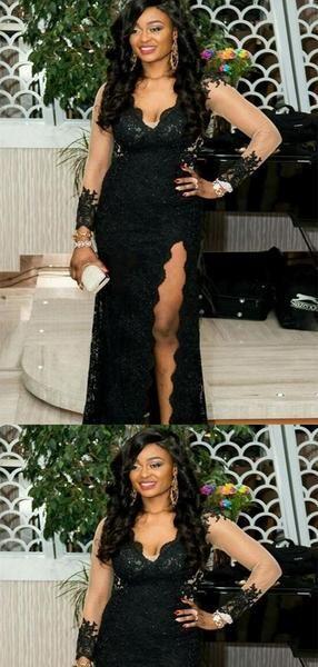 Sexy Black V-Neck Long Sleeve Open Back Long Mermaid Lace Prom Dresses bebc2d25d
