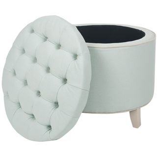 @Overstock.com - Safavieh Reims Robin's Egg Blue Storage Ottoman - In stylish robins egg blue, this round, Reims, storage ottoman multitasks with ease. Great for extra seating, a relaxing foot rest, or inconspicuous storage, it is covered in soft cotton fabric with contrasting buttons and welt trim.  http://www.overstock.com/Home-Garden/Safavieh-Reims-Robins-Egg-Blue-Storage-Ottoman/6605317/product.html?CID=214117 $131.99