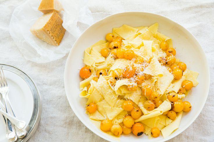 Roberta's Maltagliati, Sungold Tomato, Parmigiano...also good with red cherry tomatoes #goopcookbookclub tested.