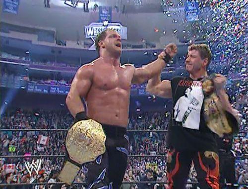 Eddie and Benoit celebrates at the end of WrestleMania XX