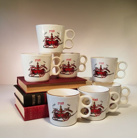 Vintage Coffee Mugs Fire Trucks Two Sets of Four by RetroEnvy21