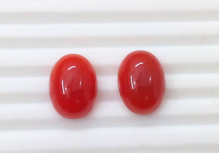 24 Cts 2 Pcs Natural Red Onyx Oval Cab Loose Gemstone 13X18 MM Earring Size S241