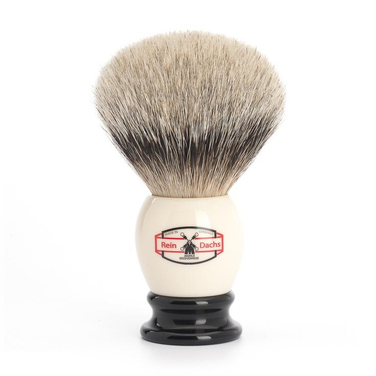 Hammer! MÜHLE - RETRO - Rasierpinsel, Silberspitz Dachszupf, elfenbein/schwarz