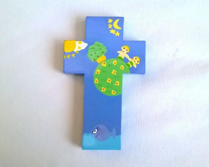 Croix en bois peint motifs naïfs, vernie : Décorations murales par des-l-aube