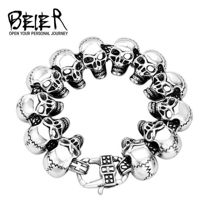 2017 New Cool Punk Skull Bracelet For Man 316 Stainless Steel Man's High Quality Jewelry BC8-003