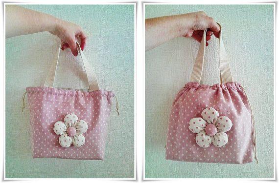 Coulisse rosa pranzo sacchetto o piccola di KawaiiSakuraHandmade