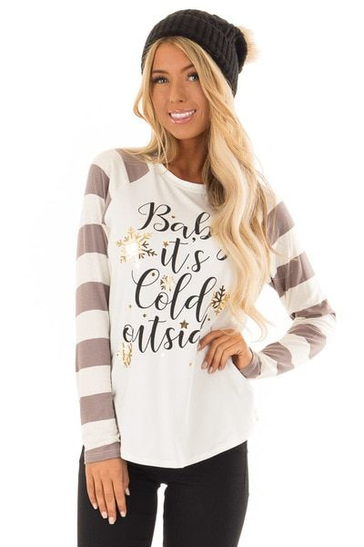 63ead38f43fe4e Mocha and Ivory Striped  Baby It s Cold Outside  Comfy Top - Lime Lush  Boutique