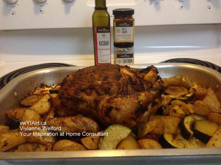 Moroccan Roast Chicken is a one pan meal prepared with fine Your Inspiration at Home products - Ras-El-Hanout Spice Blend and Kasbah Extra Virgin Olive Oil