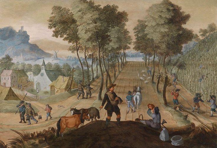 Sebastian Vrancx (1573-1647).  Приписывается: Себастьян Вранкс (1573–1647) Baumbestandene Landschaft in der Nähe eines Dorfes mit Bauern bei der Feldarbeit  Аллегория весны. Лесистая деревенская местность с крестьянами, работающими на полях.