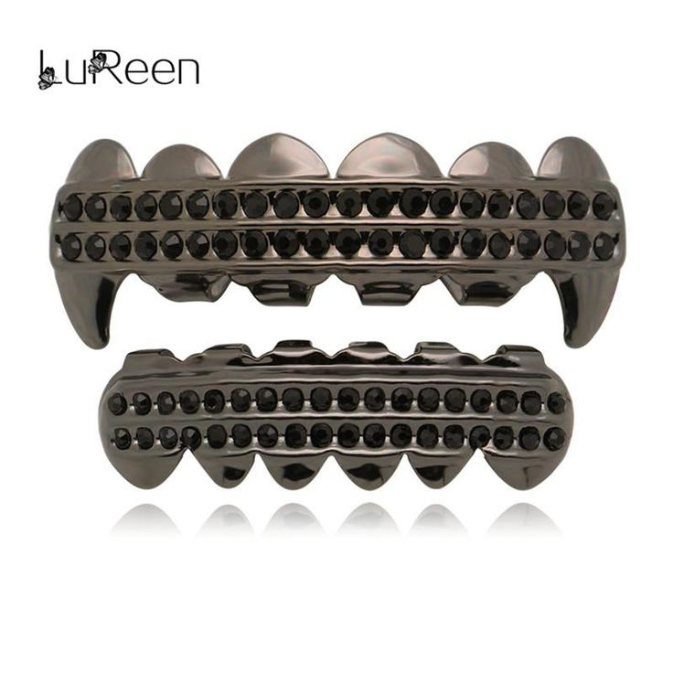 LuReen Hiphop Black Iced Out Grills Top&Bottom Vampire Teeth Grills Dental Halloween Cosplay Tooth Caps Jewelry Party LD0152