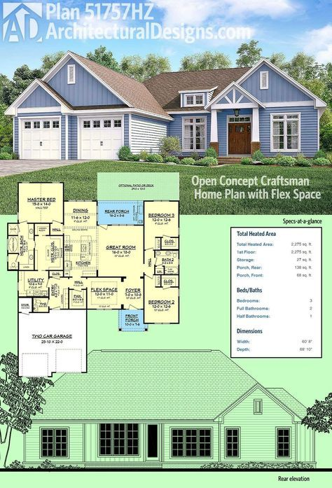 350 best images about home on pinterest craftsman style for Open concept craftsman house plans